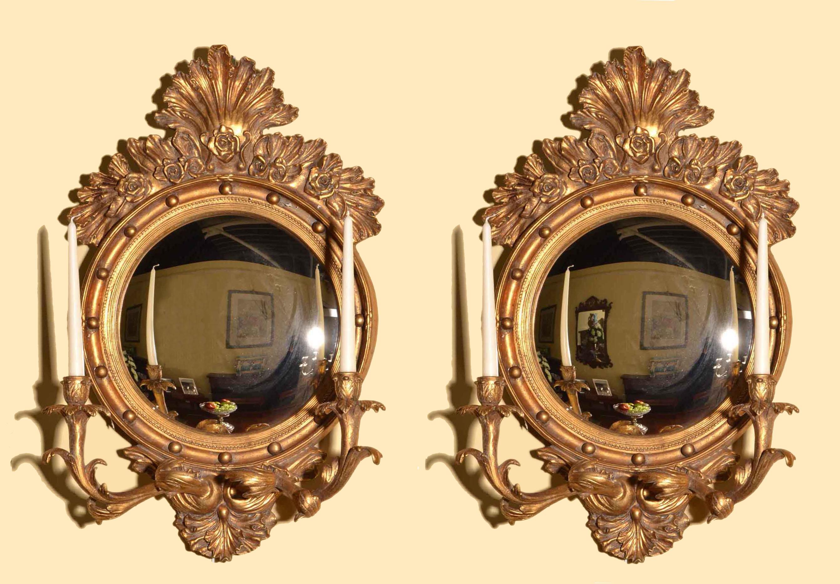 Regent Antiques Mirrors Pair Italian Gilded Convex