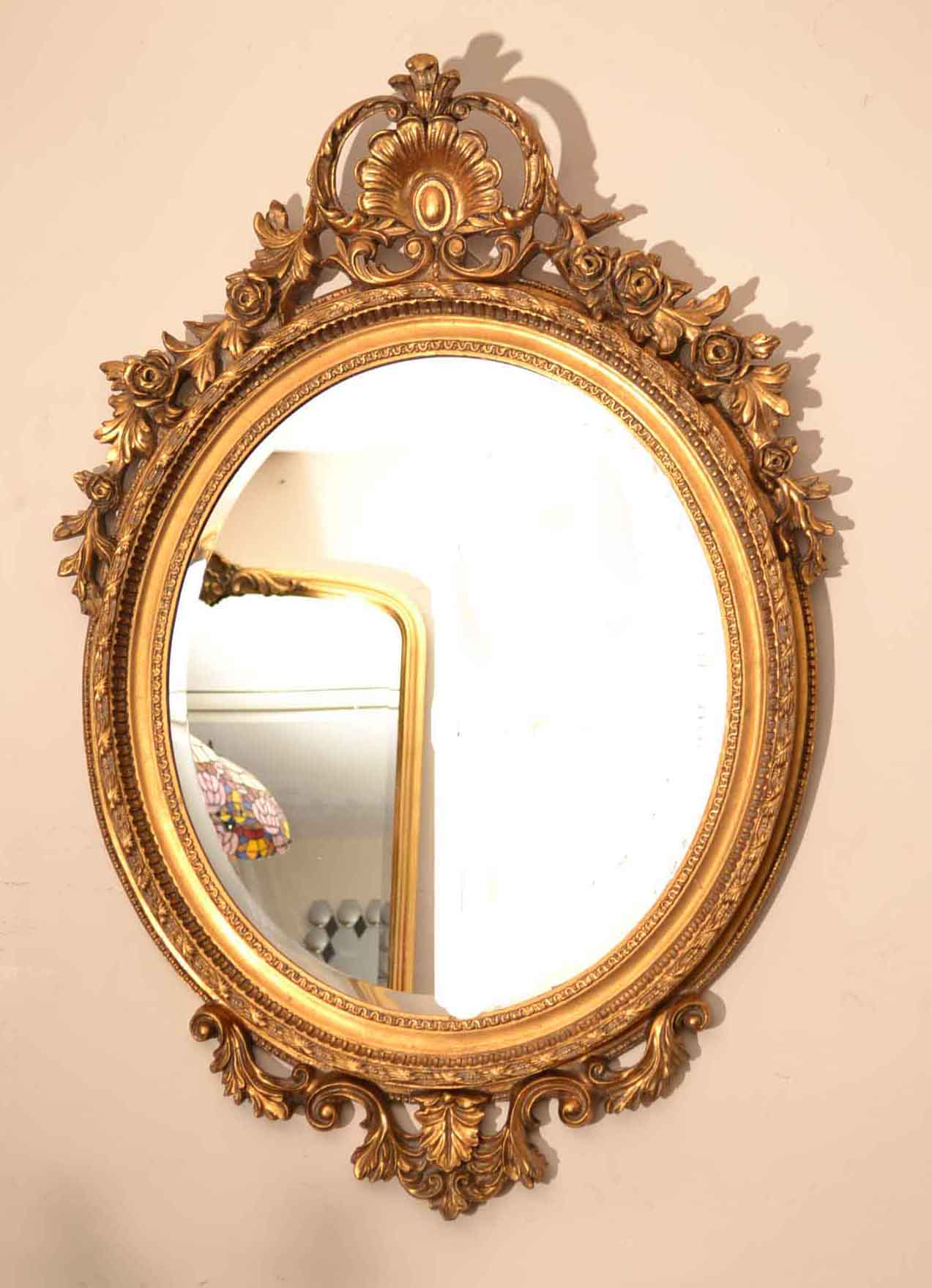 Beautiful large italian gilded decorative oval mirror for Big decorative mirror