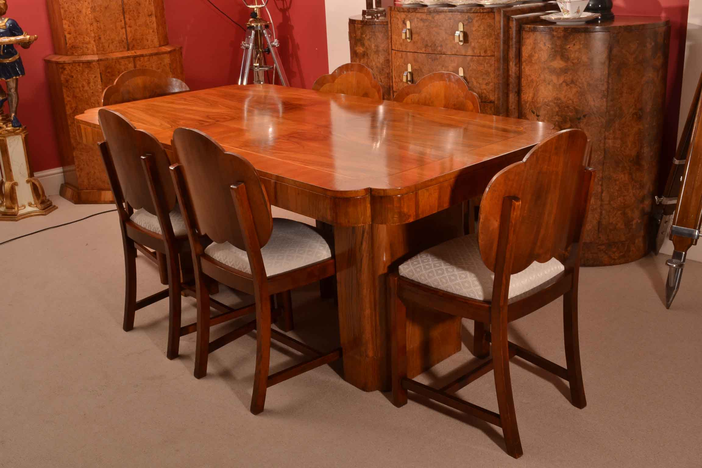 03674a antique art deco burr walnut dining table 6 chairs 1