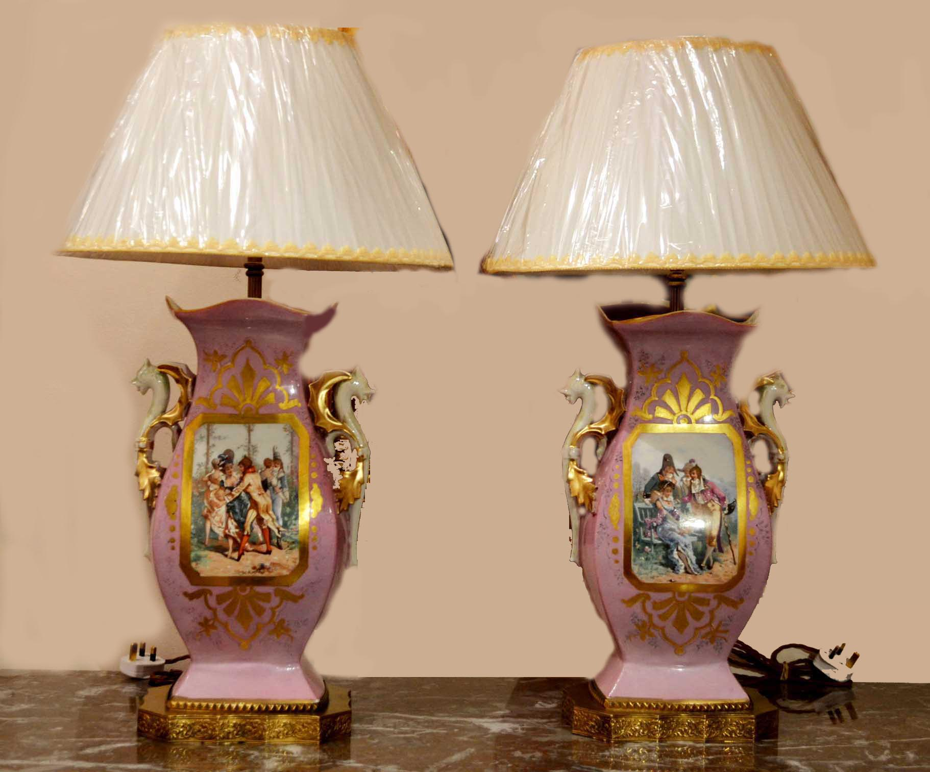 Regent Antiques Lights Antique Pair of Paris Porcelain  : 03711 Antique Pair of Paris Porcelain Lamps C1850 1 from regentantiques.com size 1822 x 1512 jpeg 192kB