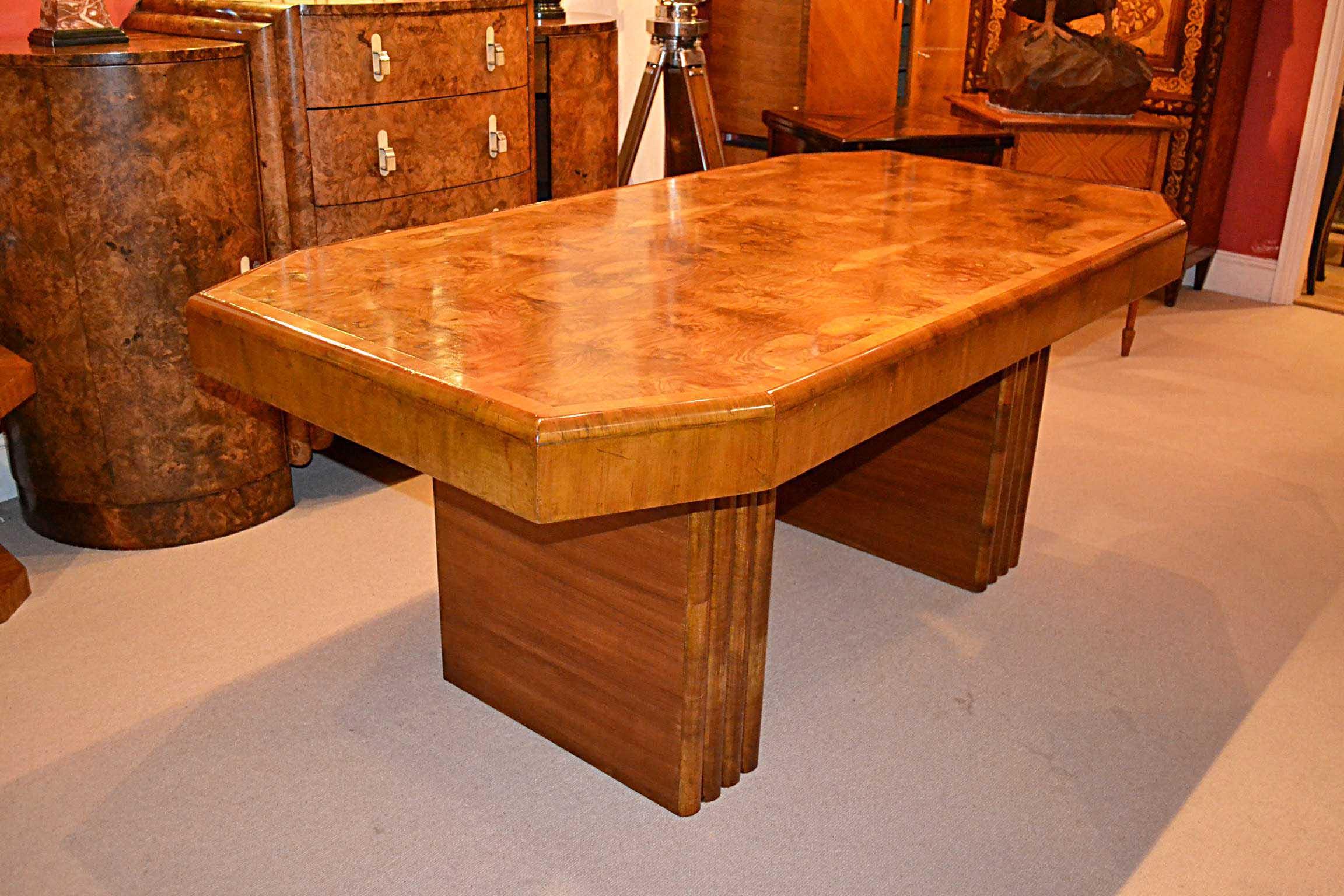 antique art deco walnut dining table c1920 ref no 03725. Black Bedroom Furniture Sets. Home Design Ideas