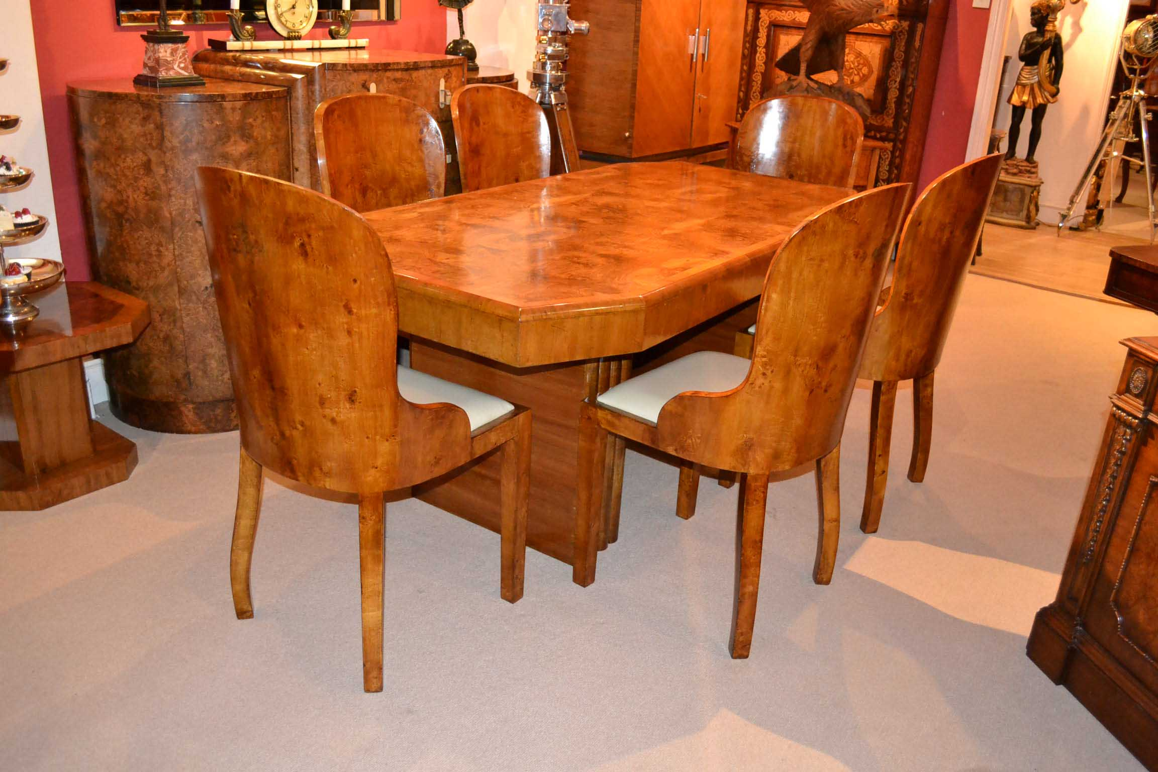 03725a antique art deco burr walnut dining table 6 chairs 1
