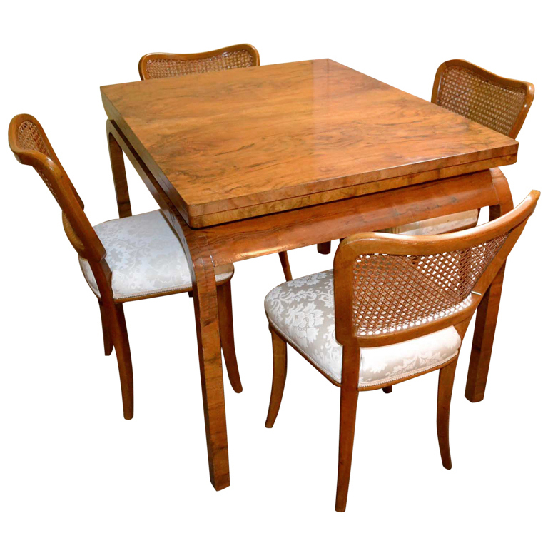 Antique Art Deco Burr Walnut Dining Table 4 Chairs