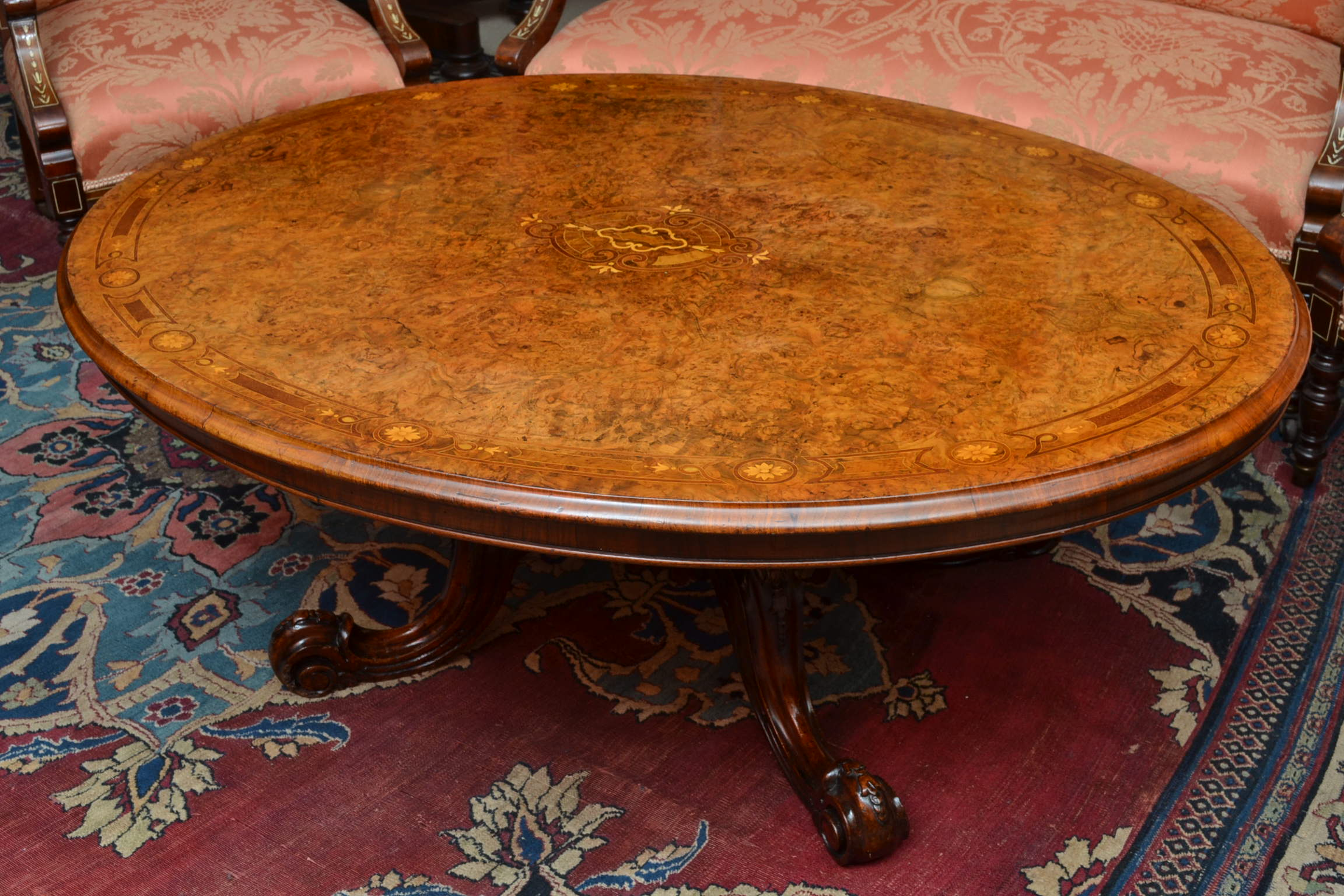 Regent Antiques Coffee Tables Antique Victorian Inlaid Burr Walnut Coffee Table C1870