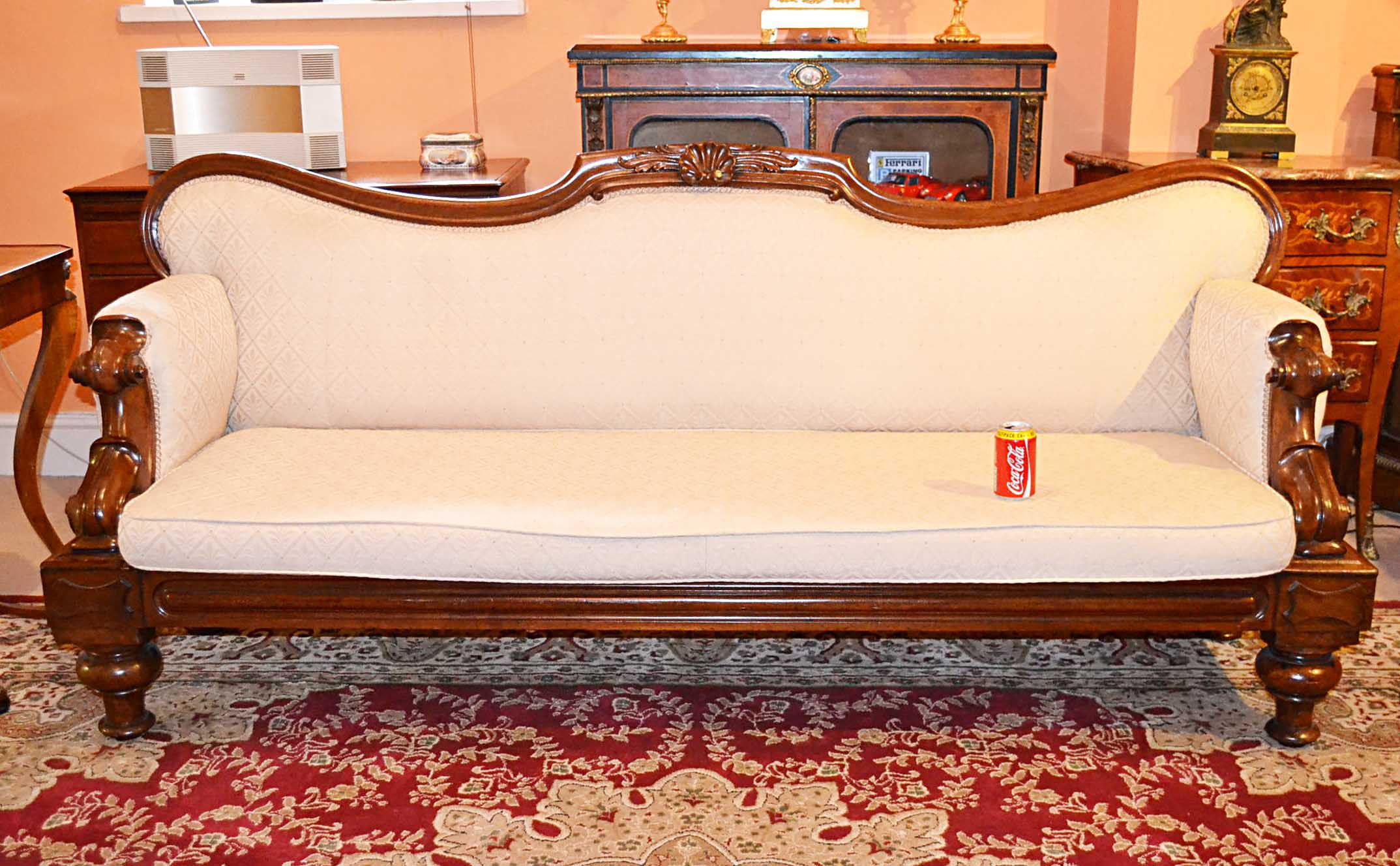03797 antique english victorian mahogany sofa chaise c1860 12 for Antique chaise sofa bed