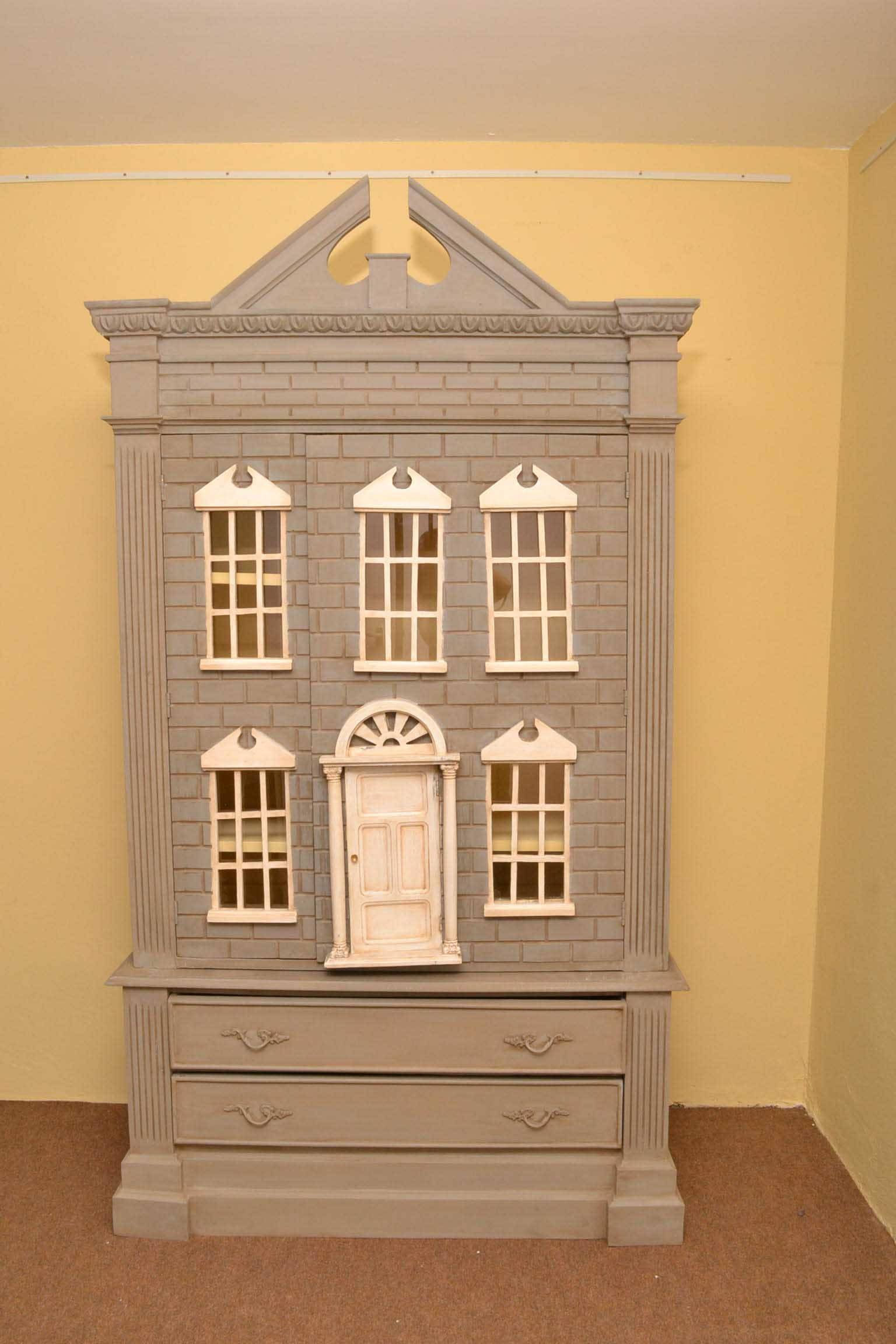 Vintage English Dolls House Wardrobe Shabby Chic