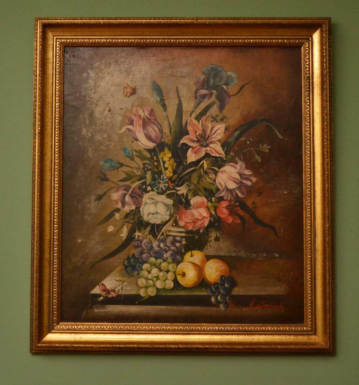 vintage oil painting fiori e frutta fruit flowers ref no 03803