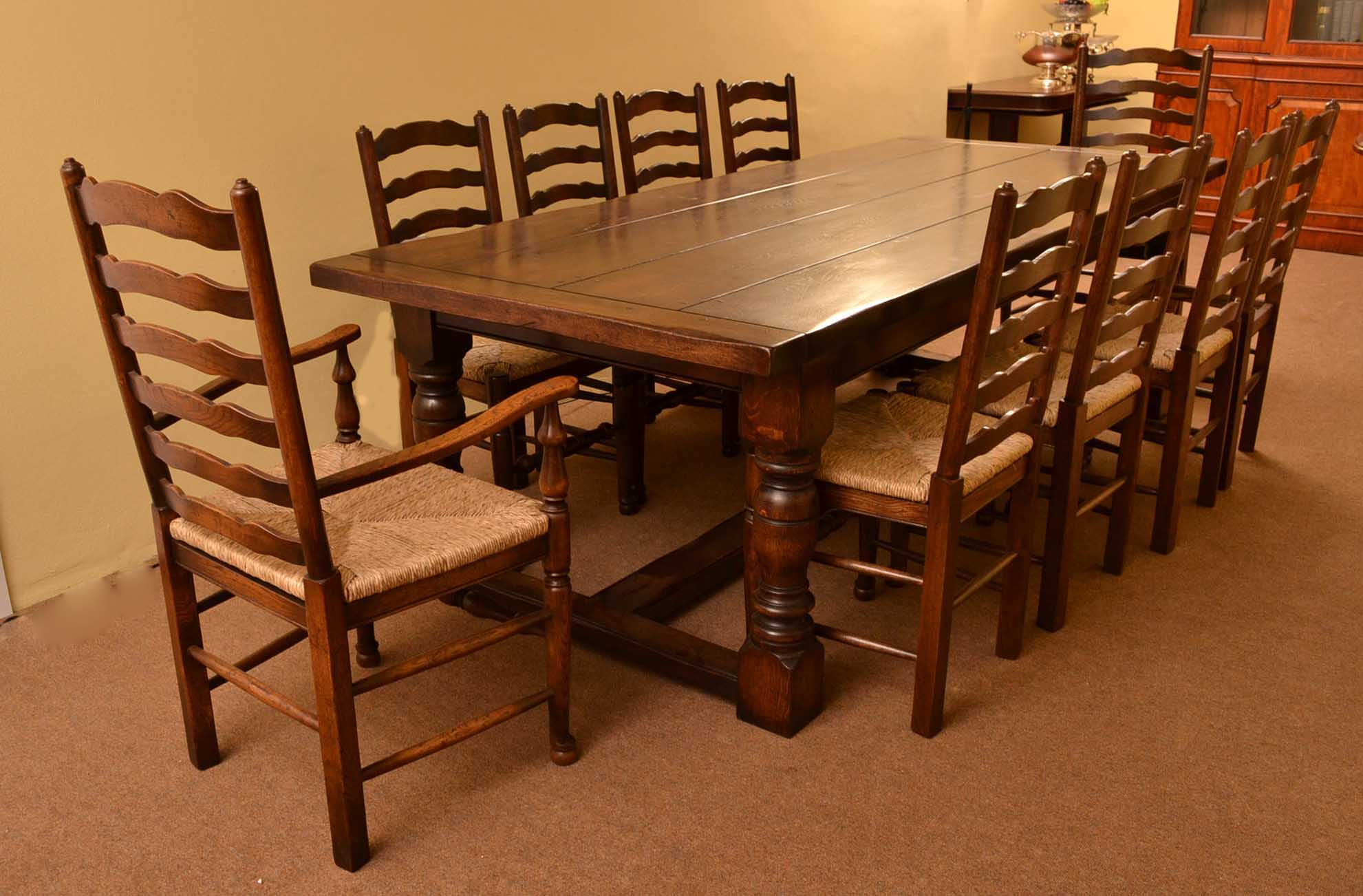 Tables English Solid Oak Refectory Dining Table 8 Ft 6x3 Ft 6. Full resolution  portraiture, nominally Width 1981 Height 1302 pixels, portraiture with #B7420B.