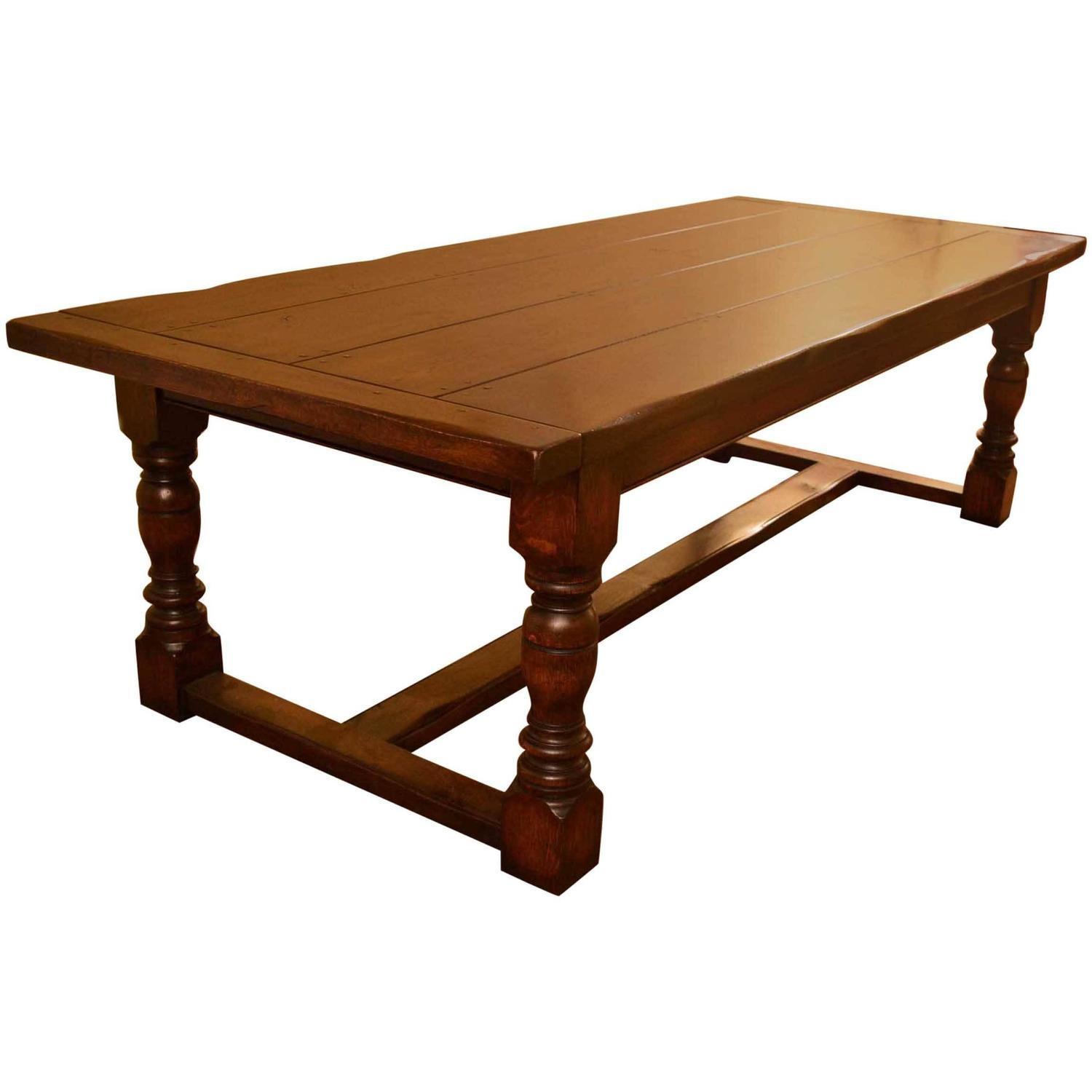 Vintage English Solid Oak Refectory Dining Table 8 Ft 6 X 3 Ft 6