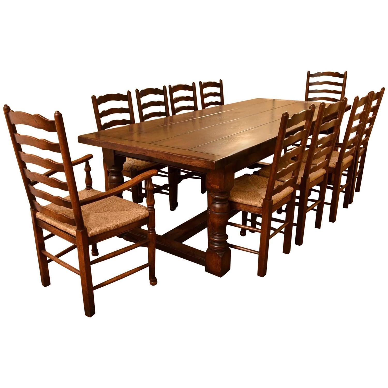 Bespoke solid oak refectory dining table 10 chairs for 10 seating dining table