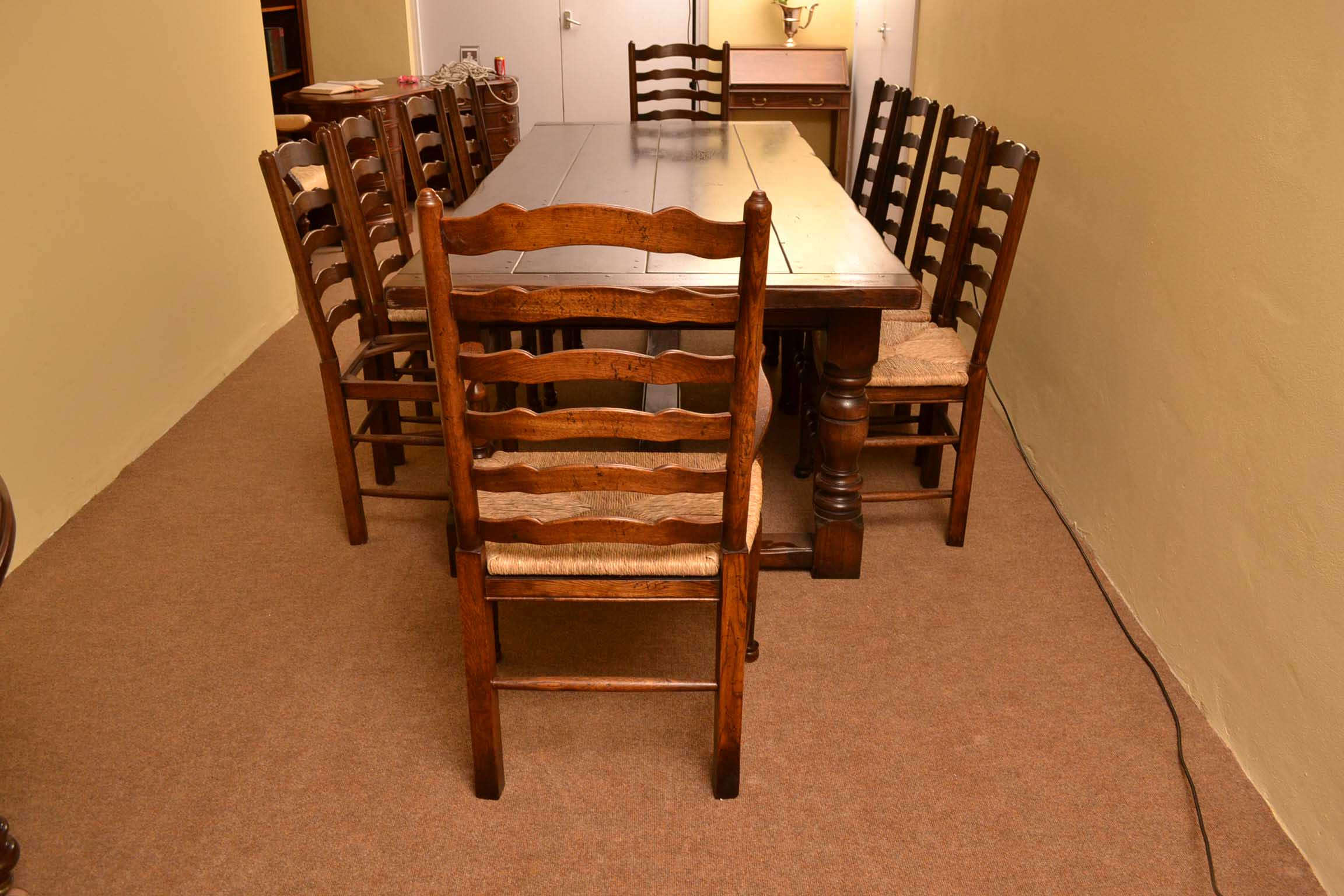Table And Chair Sets Bespoke Solid Oak Refectory Dining Table & 10. Full resolution  image, nominally Width 2304 Height 1536 pixels, image with #AF4D0F.