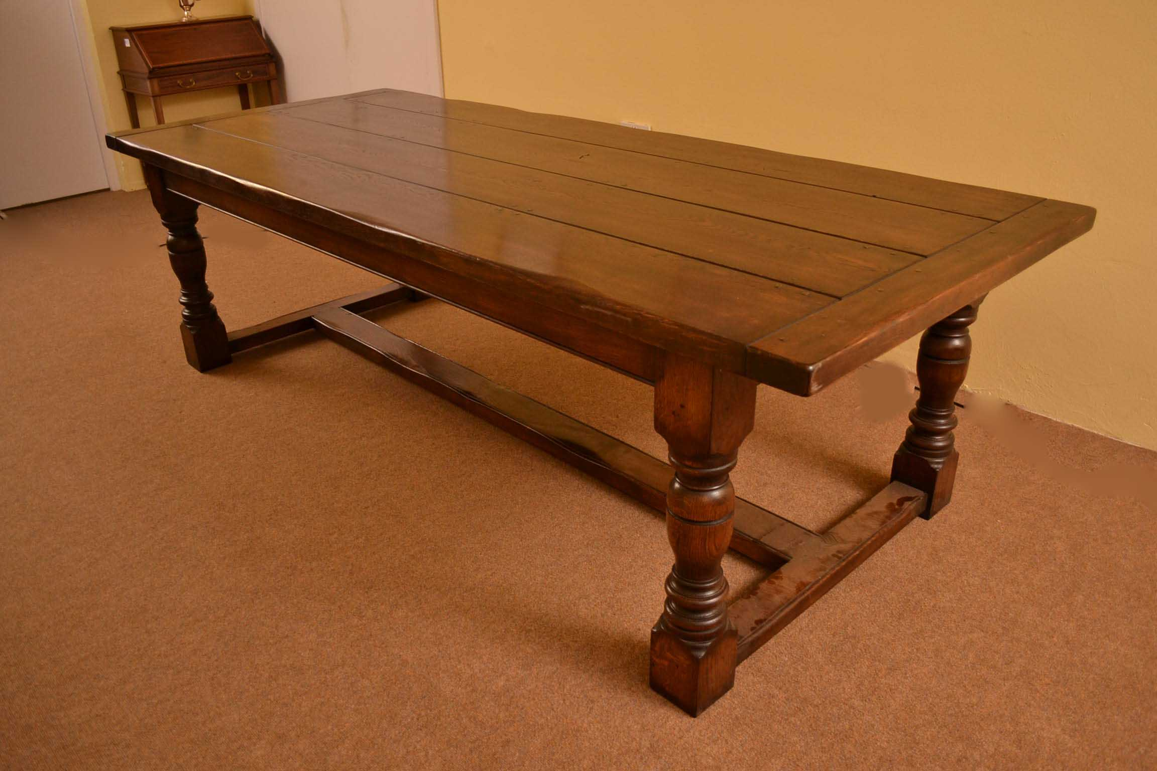 Tables English Solid Oak Refectory Dining Table 8 Ft 6 X 3ft. Full resolution  portraiture, nominally Width 2304 Height 1536 pixels, portraiture with #3B1604.