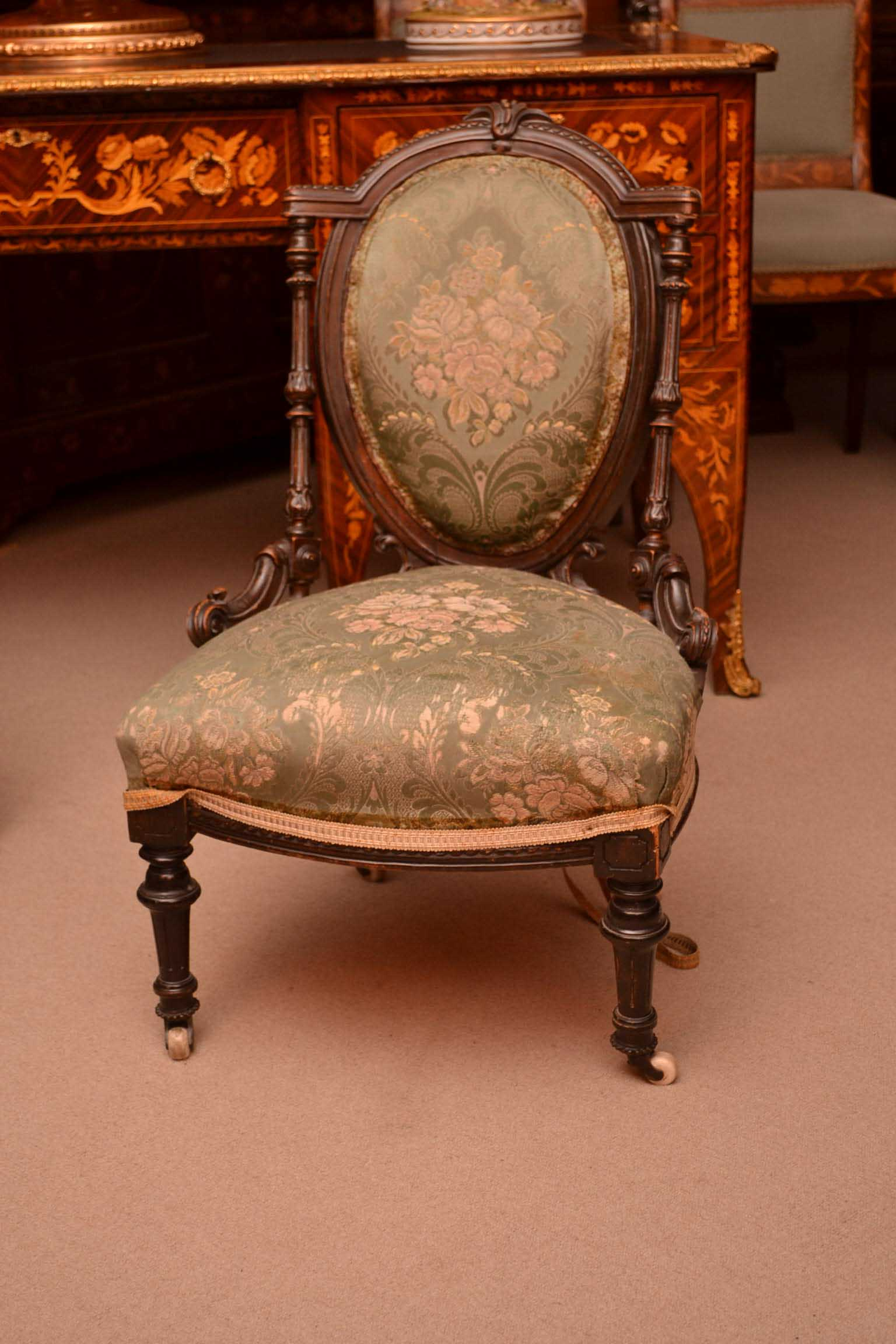 - Antique Victorian Walnut Nursing Chair C1880