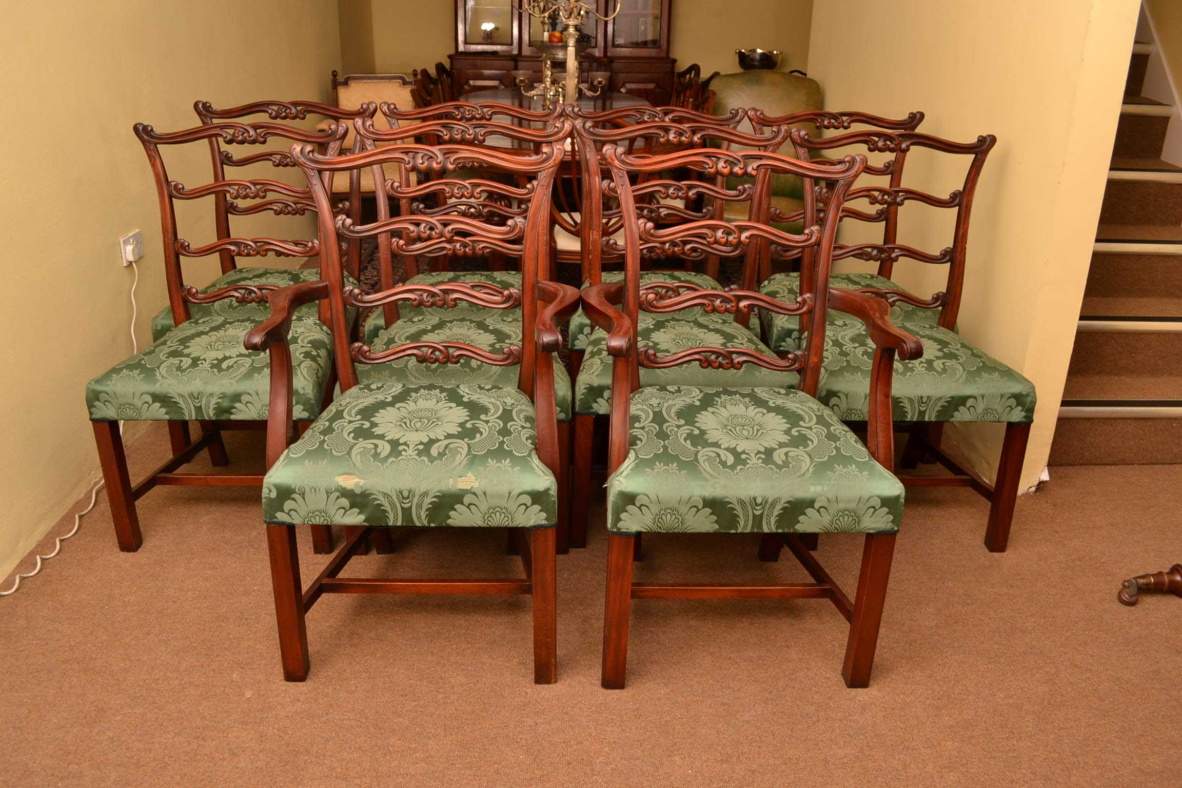 10 Vintage Chippendale Ladderback Dining Chairs