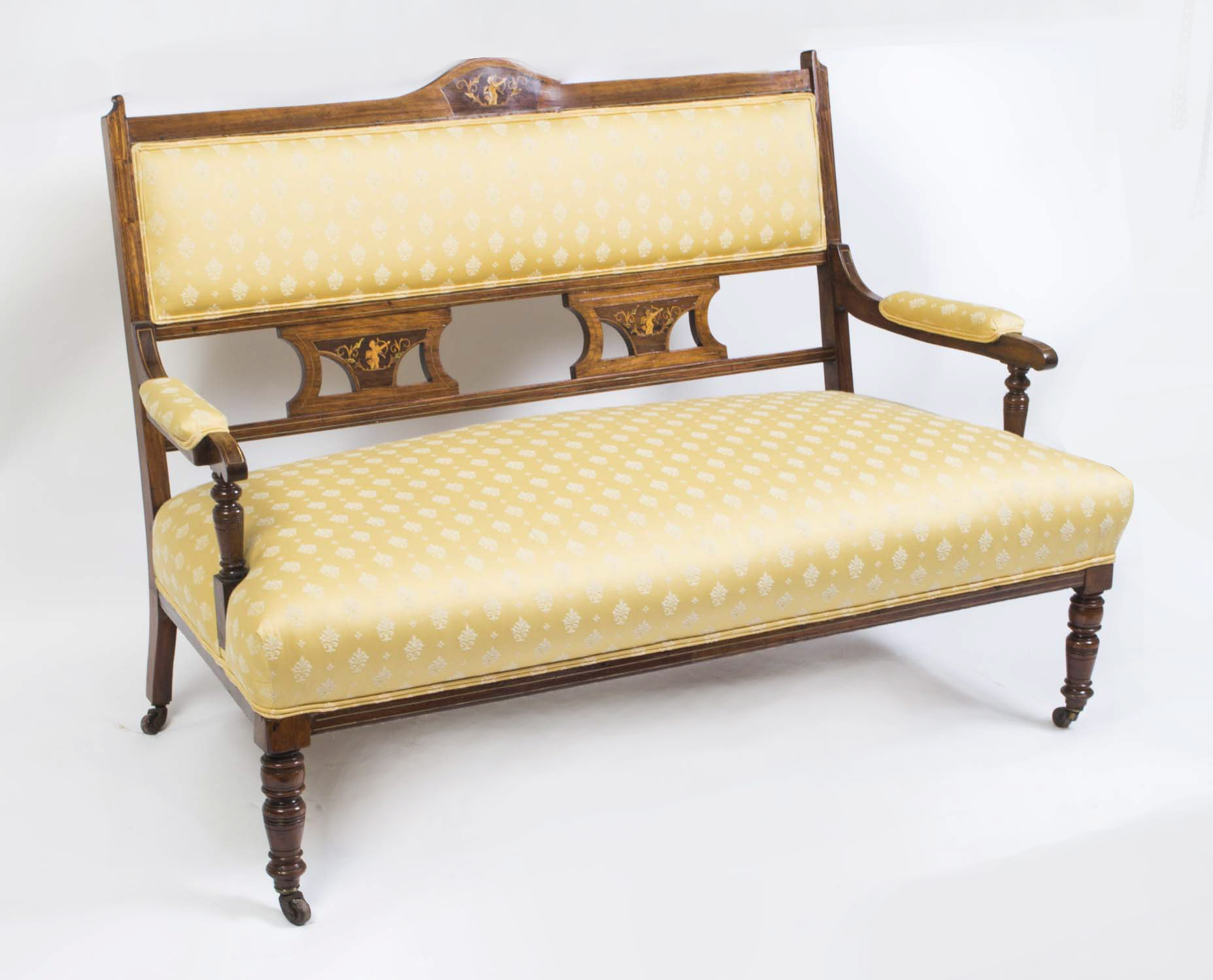 Antique edwardian rosewood inlaid sofa chaise for Antique chaise sofa