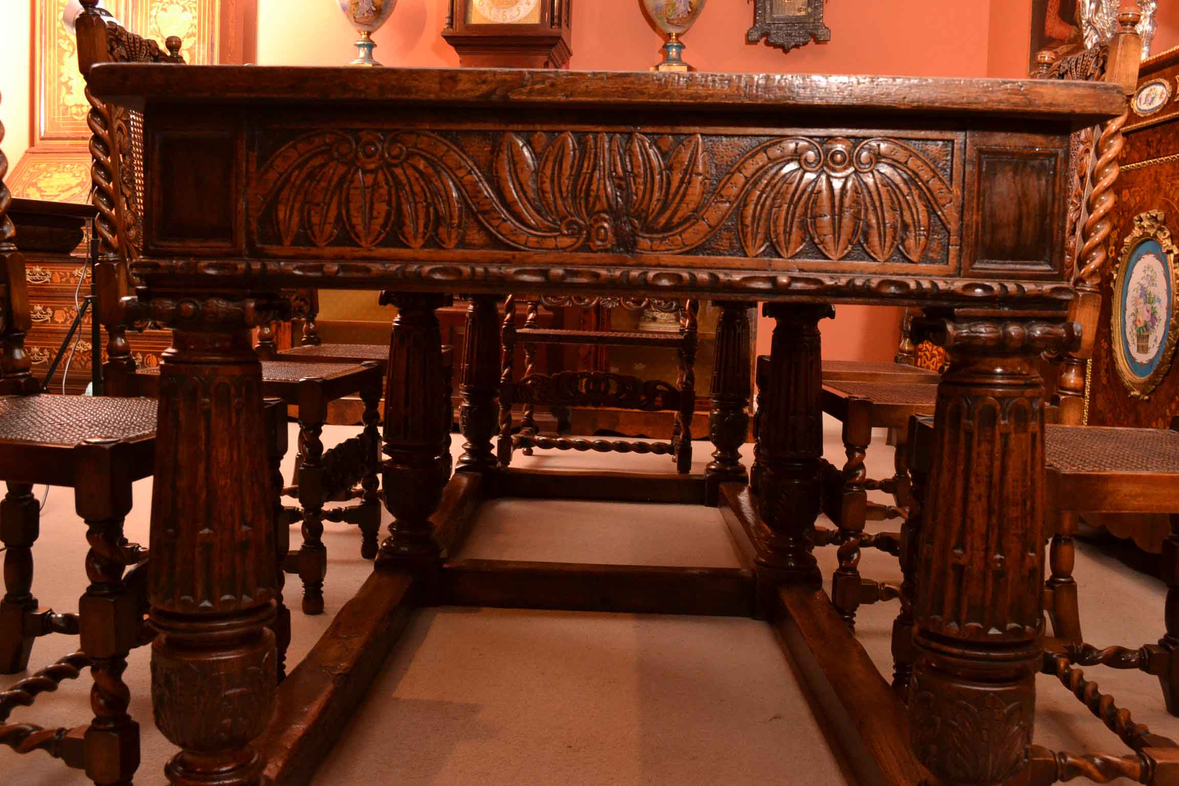 Tables And Chairs Tables Antique Oak Refectory Dining Table & 8. Full resolution  portraiture, nominally Width 2304 Height 1536 pixels, portraiture with #C0700B.
