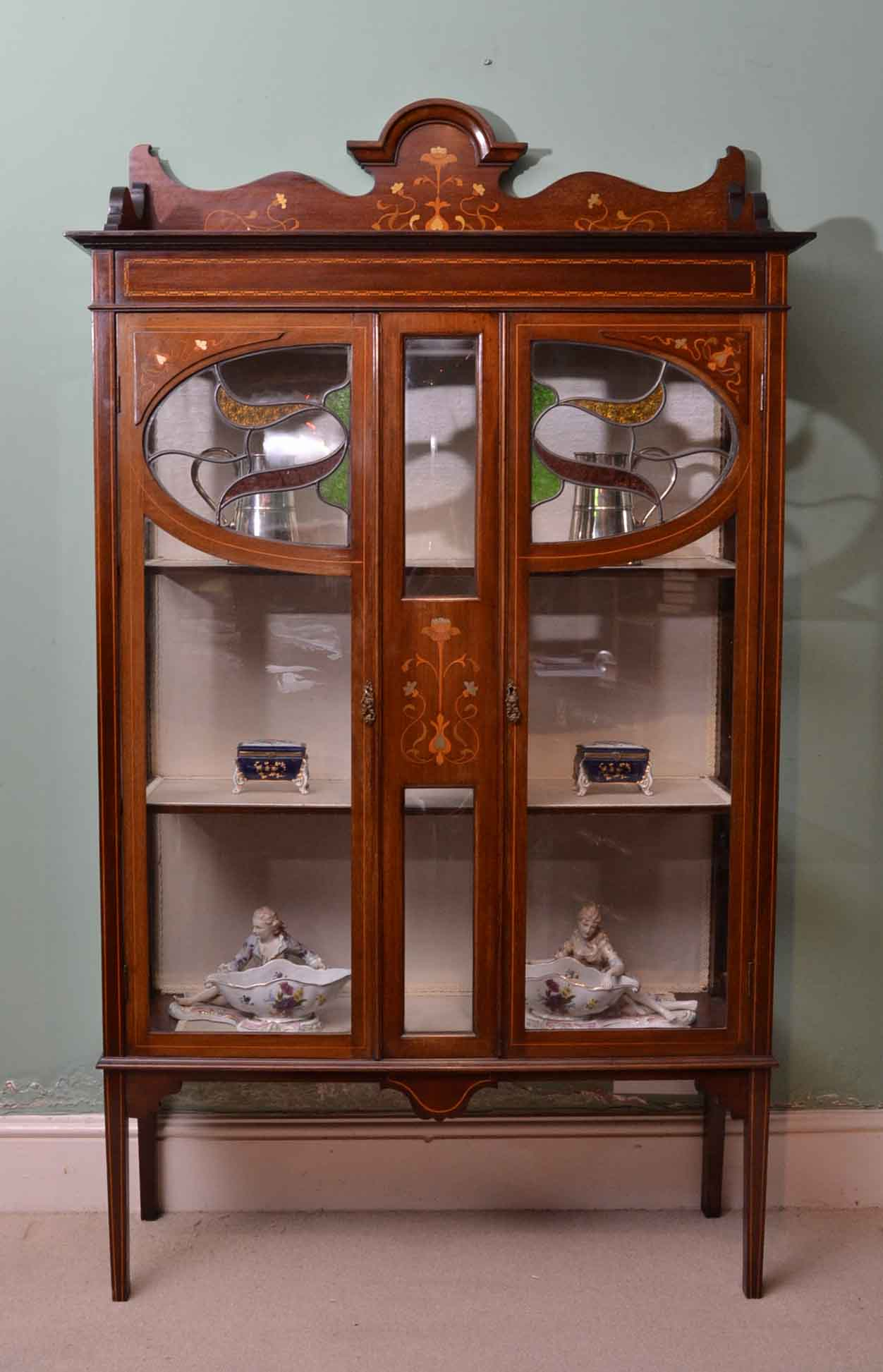 - Antique Art Nouveau Inlaid Display Cabinet C1900 Ref. No. 03964