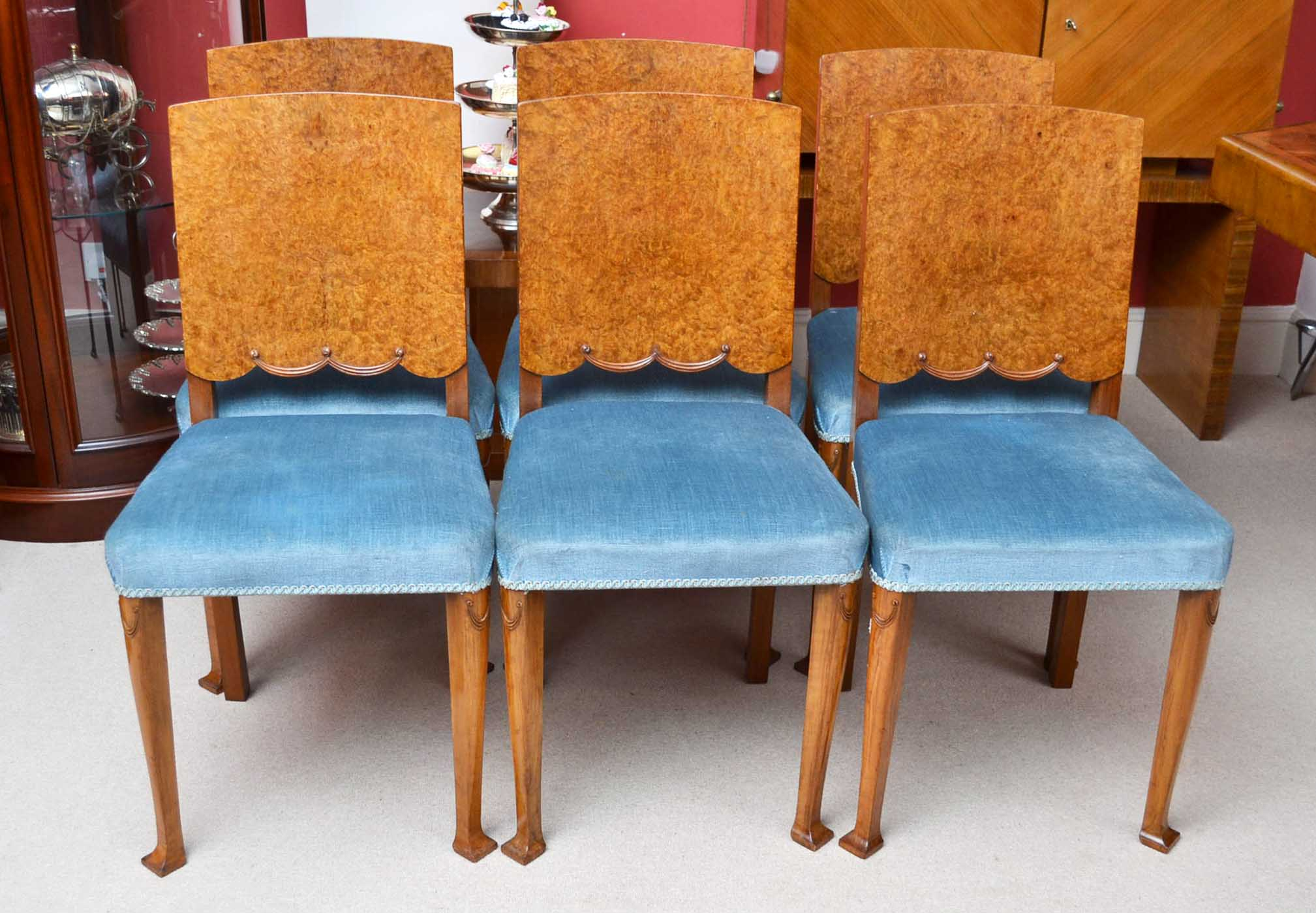 Antique 6 Art Deco Burr Walnut Dining Chairs Circa 1920