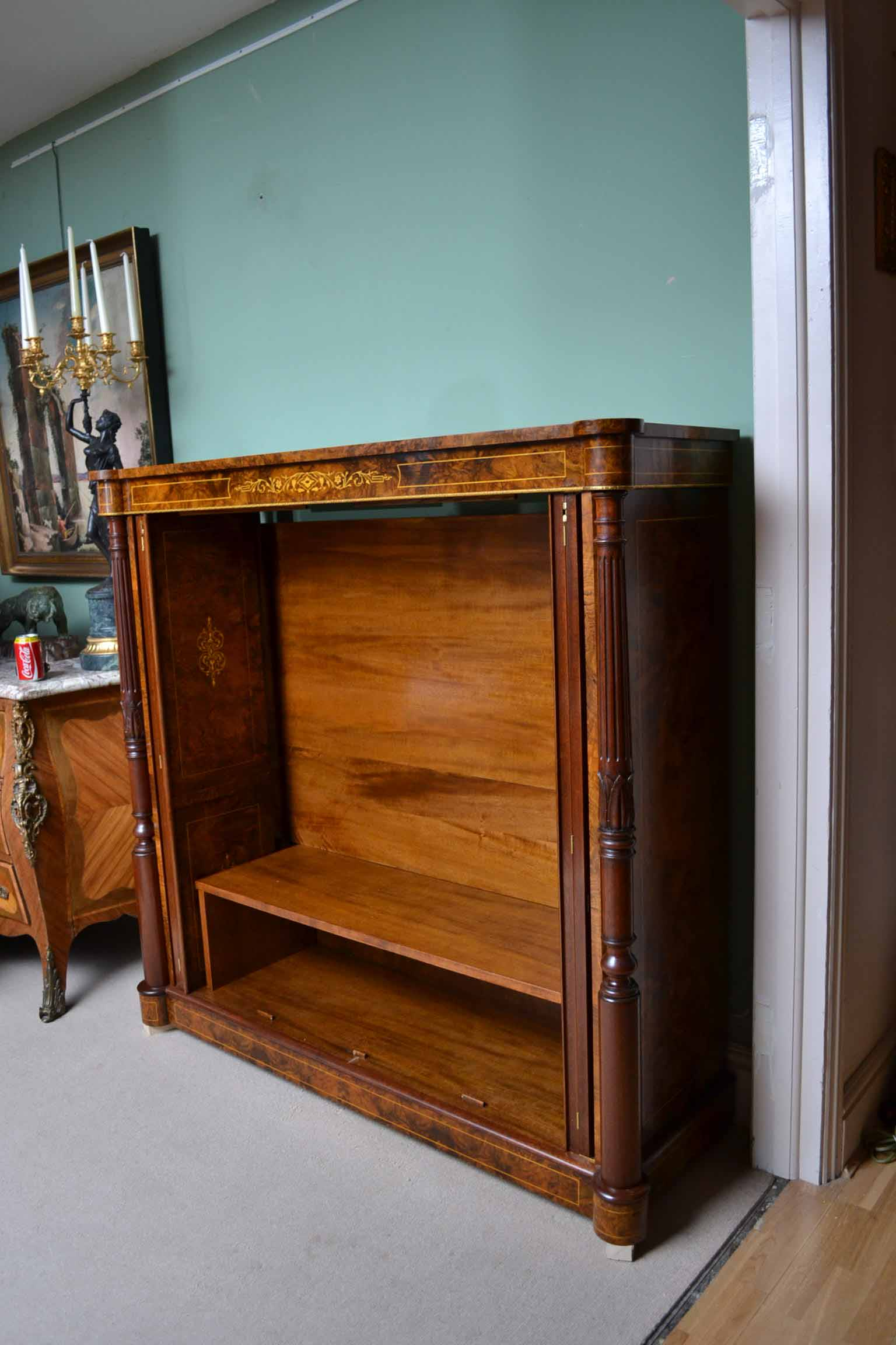 Regent Antiques Cabinets Inlaid Burr Walnut Tv Plasma