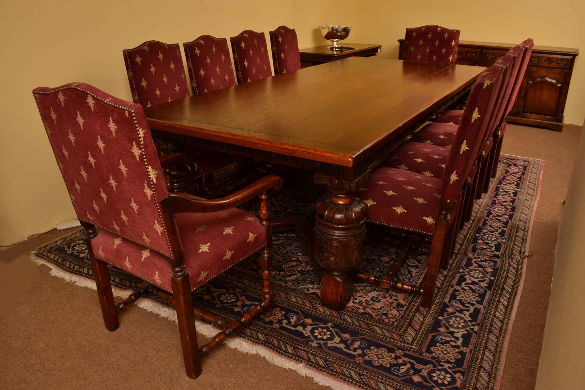 Dining Room Table With 10 Chairs Harrods Oak Dining Room Suite Refectory Table 10 Chairs
