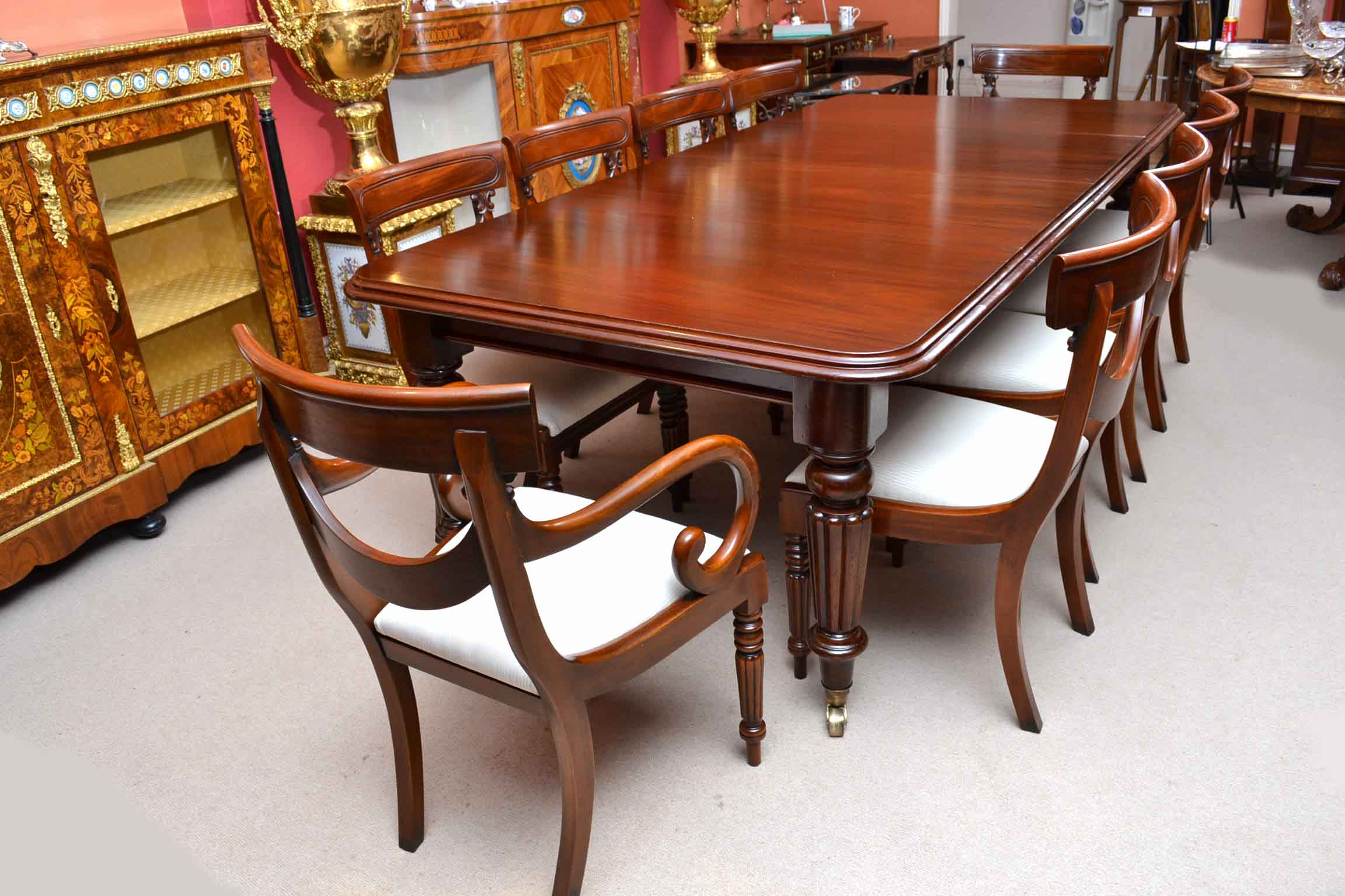 antique victorian 8ft mahogany dining table 10 chairs ref no 04108a regent antiques. Black Bedroom Furniture Sets. Home Design Ideas