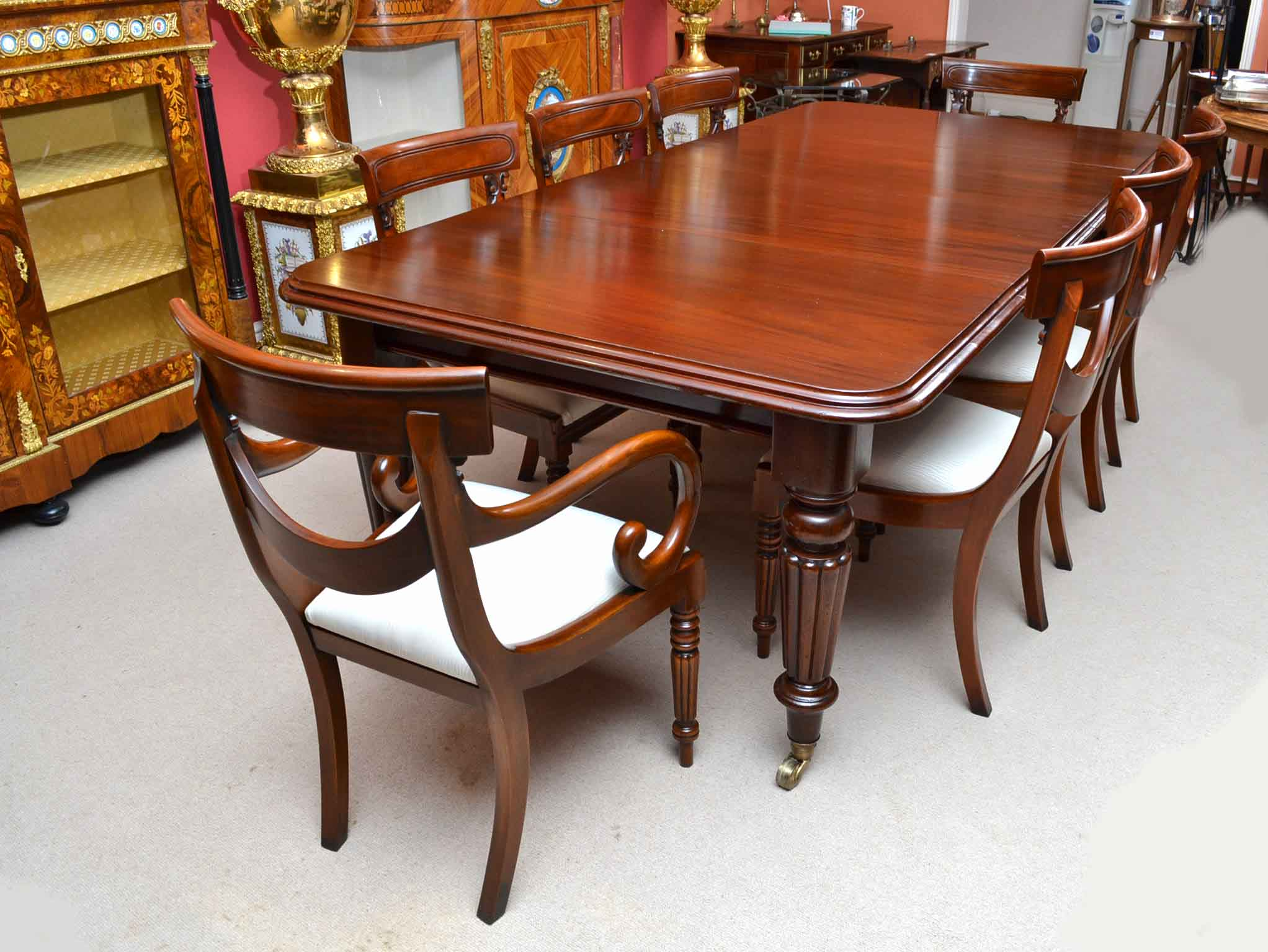 Antique victorian 8 ft mahogany dining table 8 chairs for 8 chair dining table