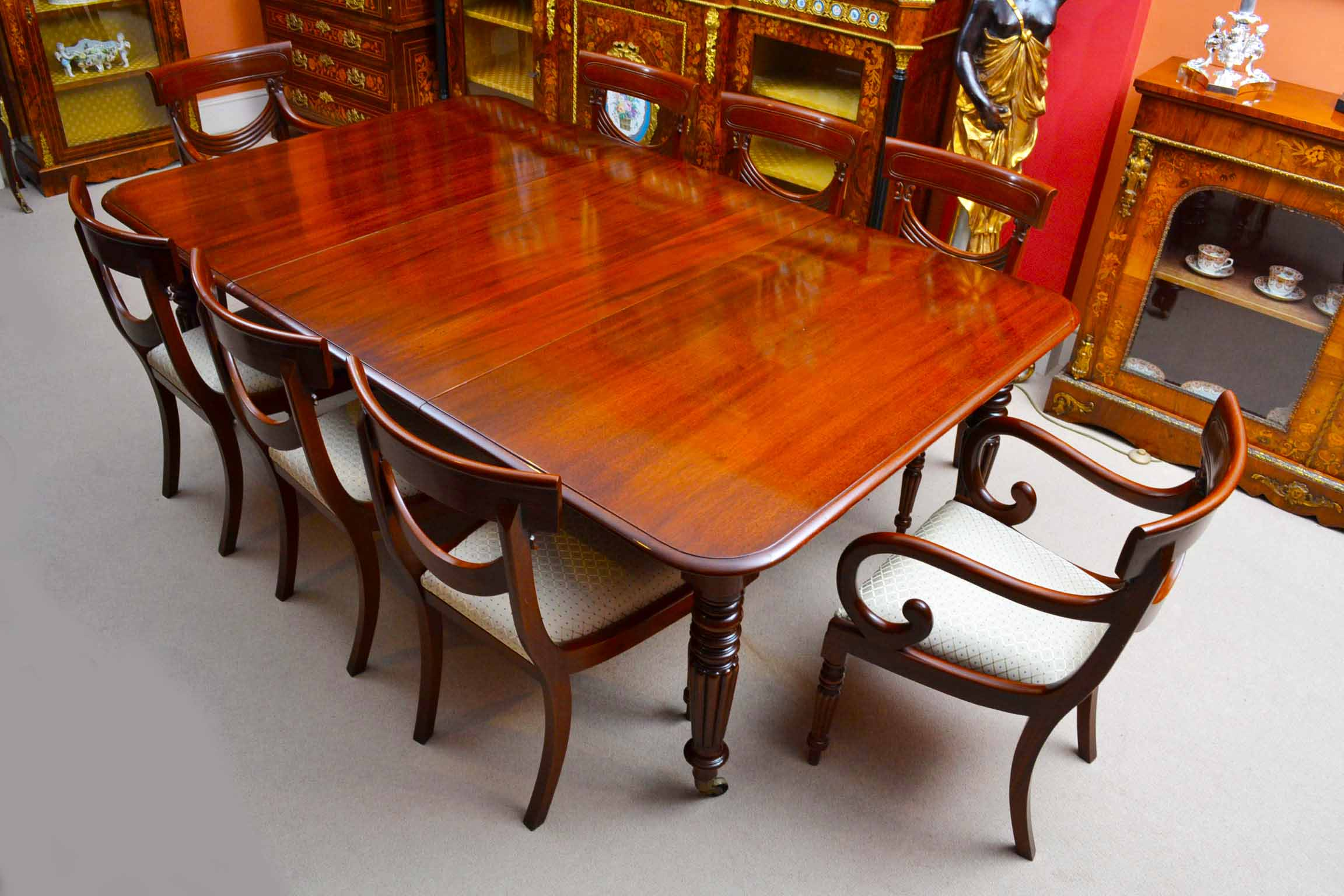 antique regency dining table 8 vintage chairs