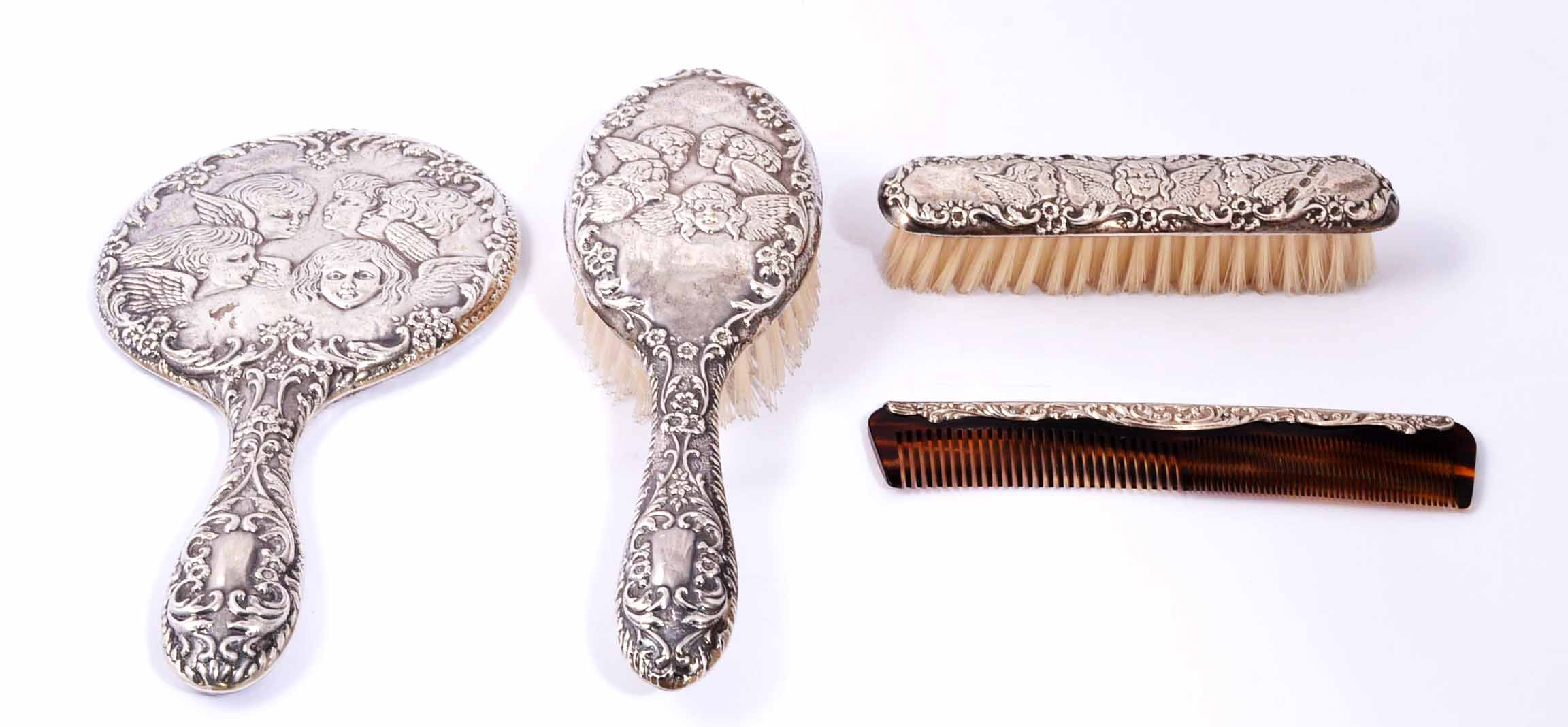 Antique Sterling Silver Cherubs Hand Mirror Brush Set Ref No 04195