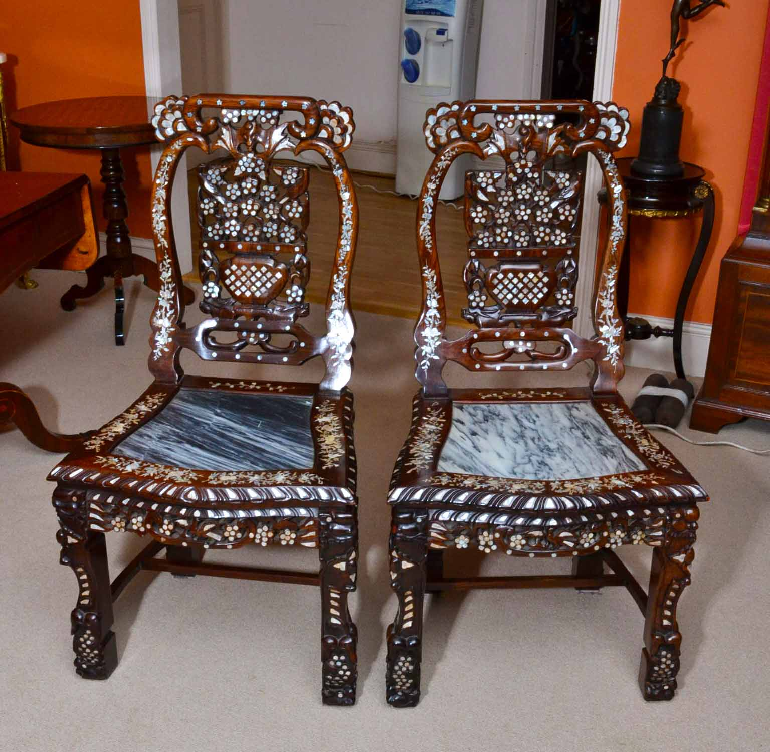 Ordinaire Antique Pair Chinese Side Chairs Inlaid Mother Of Pearl Ref No 04224