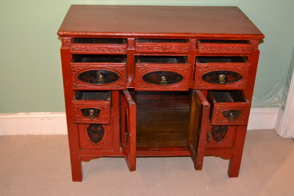 Cabinets antique chinese red lacquered chest sideboard c1880