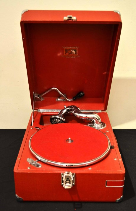 Vintage Portable HMV Gramophone Mod 102 4 Red
