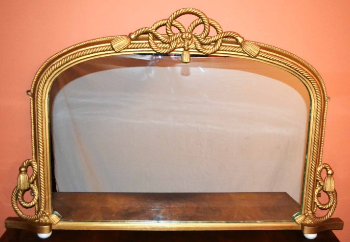 Antique Victorian Gilt Rope Twist Over Mantle Mirror Ref