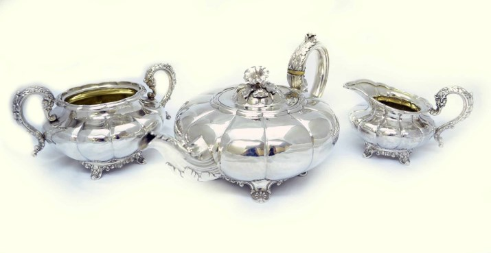 Regent Antiques Silver and silver plate Sterling  : 04863 Antique Silver Tea Set Birmingham 1836 GR Collis 25 from regentantiques.com size 715 x 369 jpeg 37kB