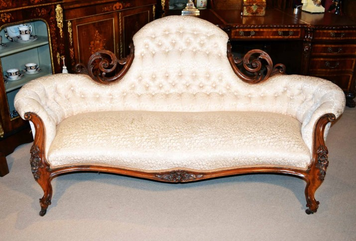 Antique victorian walnut sofa chaise for Antique victorian chaise lounge