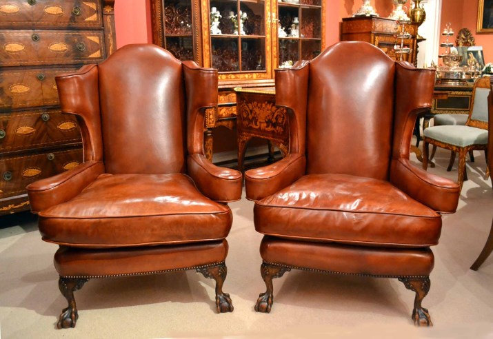 - Pair Vintage Leather Ball & Claw Wing Chairs Armchairs