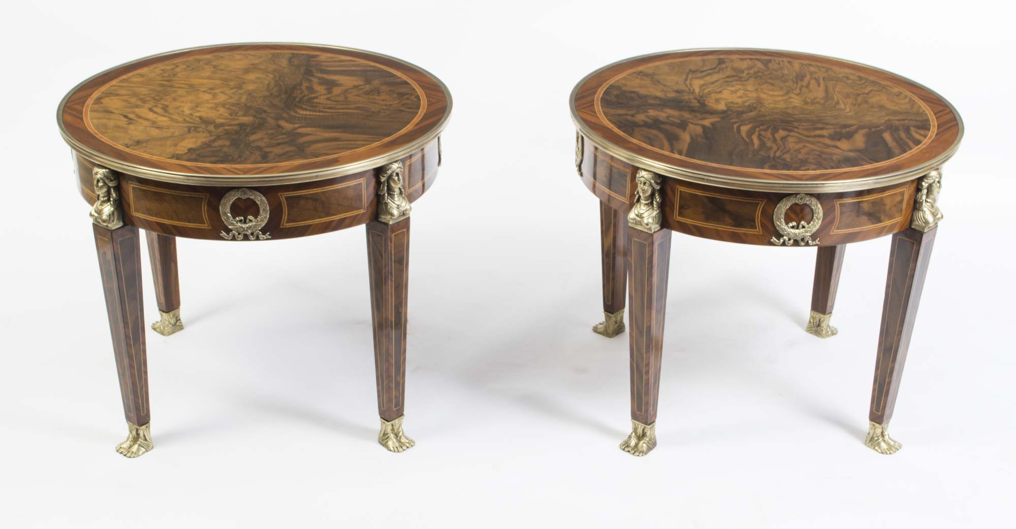 Empire Coffee Table Pair Of French Empire Style Burr Walnut Coffee Tables