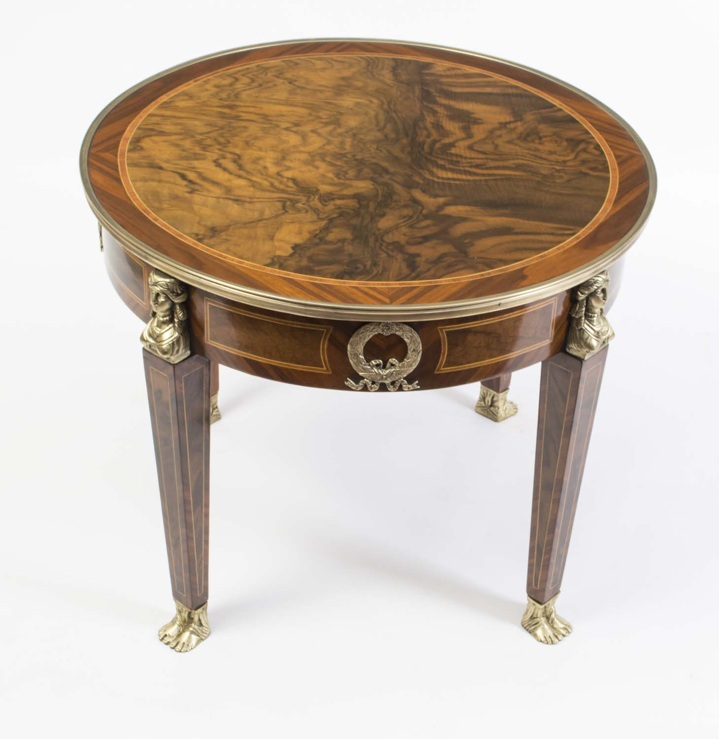 Coffee Tables Striking French Empire Style Burr Walnut Coffee Table
