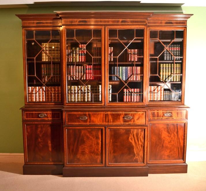 vintage inlaid mahogany breakfront secretaire bookcase. Black Bedroom Furniture Sets. Home Design Ideas