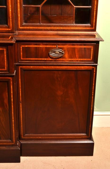 regent antiques bookcases vintage inlaid mahogany breakfront secretaire bookcase. Black Bedroom Furniture Sets. Home Design Ideas
