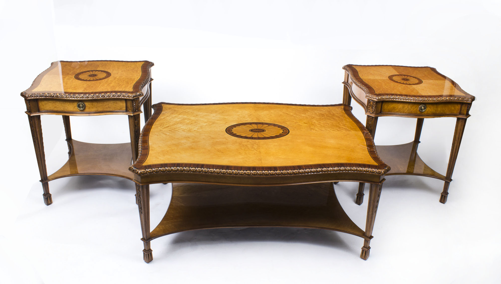 Stunning Birdseye Maple Coffee Table Pair Side Tables