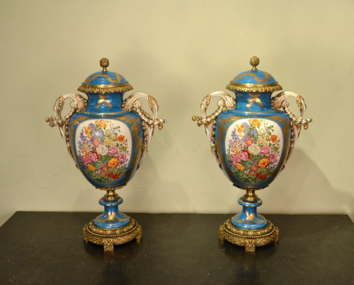Large Pair Hand Painted Sevres Blue Porcelain Vases Ref No 05132