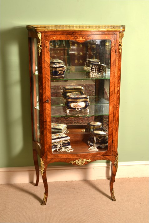 - Antique French Rosewood Display Cabinet Vitrine C1880
