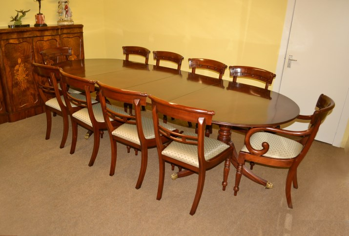 Antique George III Style Dining Table 10 Chairs