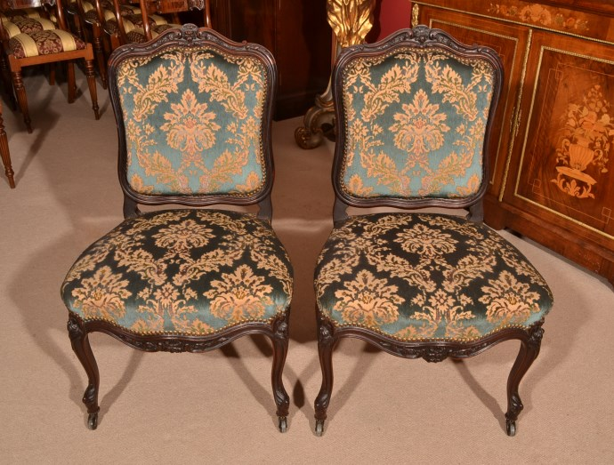 - Antique Pair French Rosewood Side Desk Chairs C.1900 Ref. No. 05502