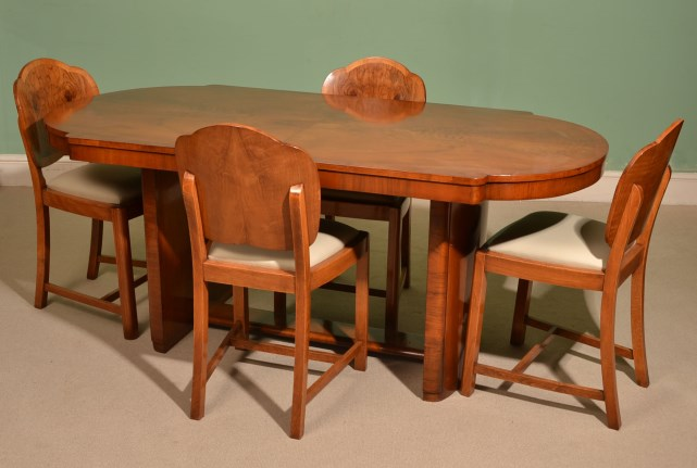 Antique Art Deco Dining Table 4 Cloudback Chairs C1920