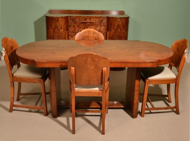 antique art deco walnut dining suite c1920 art deco dining suite