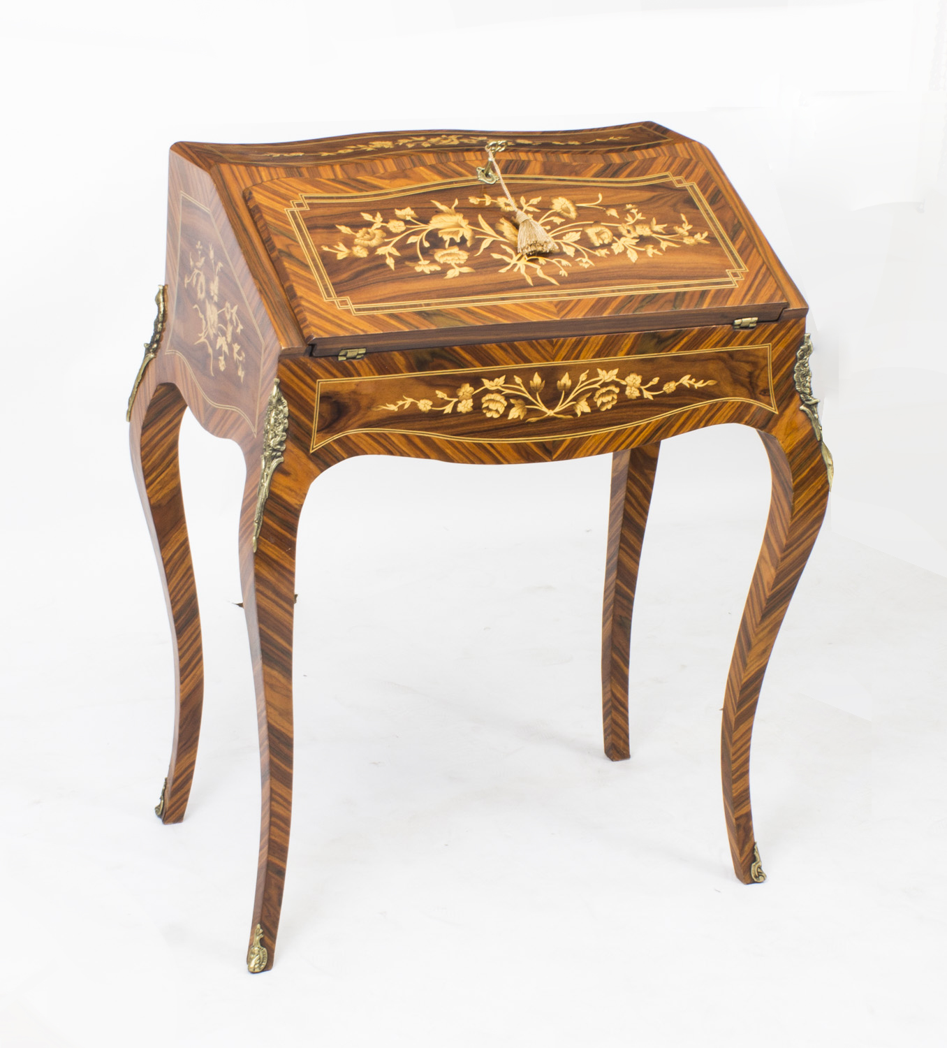 French rosewood louis xv style marquetry bureau for Chambre style louis xv