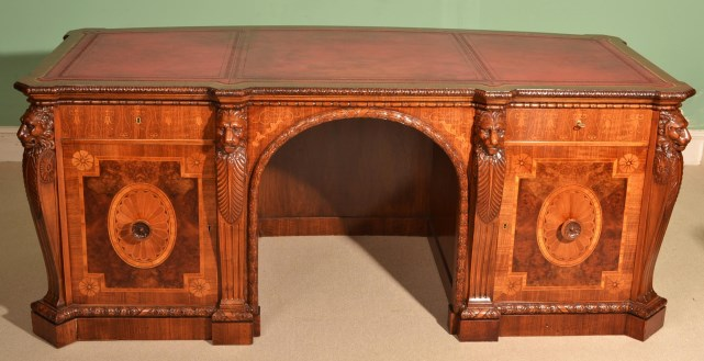- Antique Mahogany Marquetry & Satinwood Desk C.1900 Ref. No. 05778