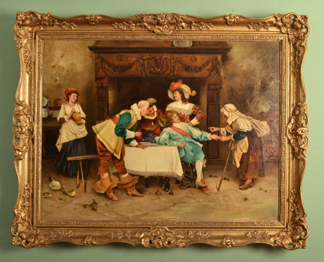 antique italian oil painting 39 the fortune teller 39 c1850 ref no 05838. Black Bedroom Furniture Sets. Home Design Ideas