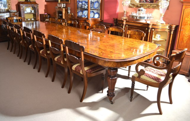 Huge marquetry walnut extending dining table 16 chairs for Dining room tables seat 16